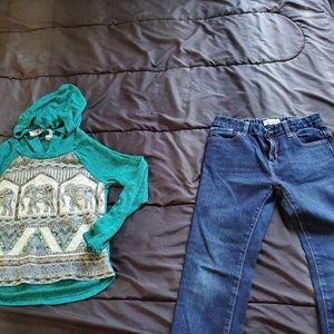 girl 12 dark denim jeans and top